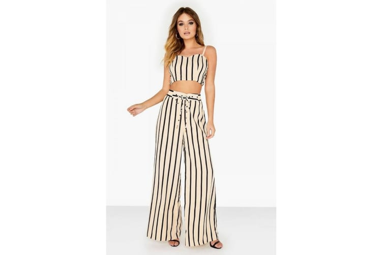 Girls On Film Womens/Ladies Striped Flared Trousers (Monochrome) (10 UK)