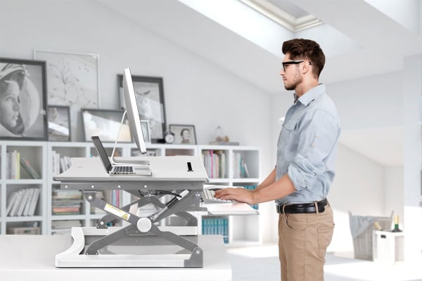 Kogan Height Adjustable Standing Desk Riser (Medium, White)