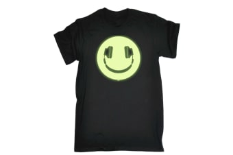 123T Funny Tee - Headphone Smile Glow In The Dark Mens T-Shirt