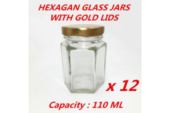 12 x Hexagon Shaped Glass Jar Clear Gold Screw Top Lid Lolly Storage Small 110ML