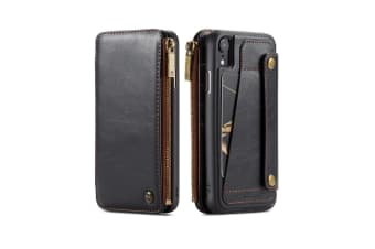For iPhone XR Case Detachable Multiuse Black Leather Folio Case Card Slots
