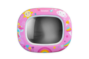 Benbat Baby Night & Day 30cm Car Head Rest Mirror w/Lights/Lullabies/Remote Pink