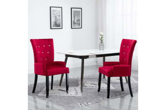 vidaXL Dining Chair with Armrests Red Velvet