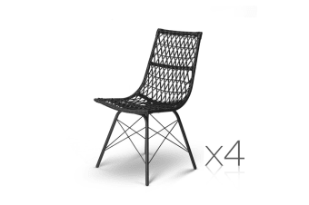 Set of 4 Rattan Dining Chair (Black)