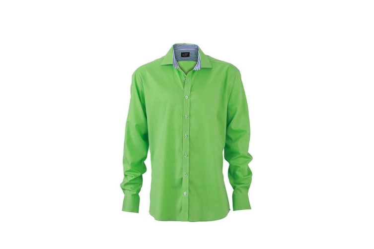 James and Nicholson Mens Dot Pattern Shirt (Green/Blue) (L)
