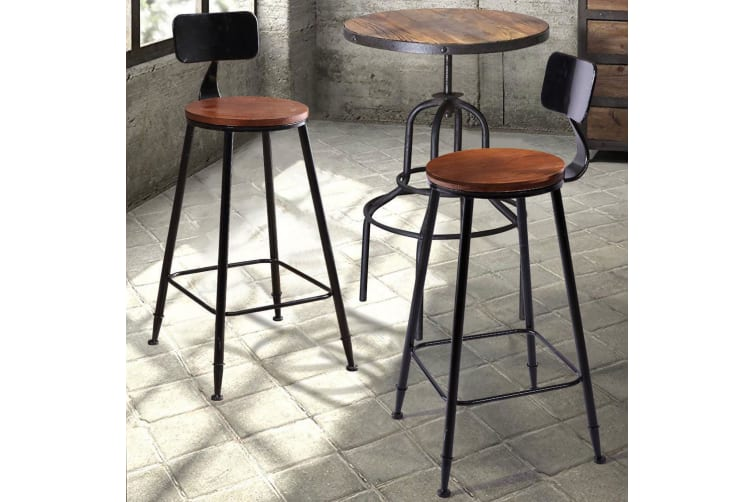 2x Vintage Industrial Rustic Bar Stools Home Kitchen Square/Round Wood/PU Seat