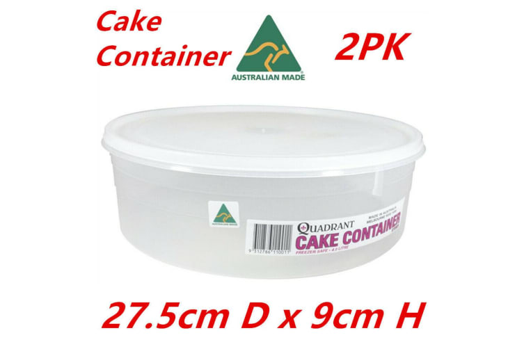 2 x Round Cake Container Clear Plastic Storage Keeper Saver (Made In Australia)
