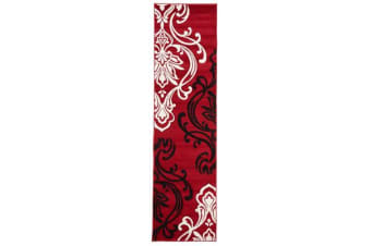 Stunning Thick Patterned Runner Rug Red