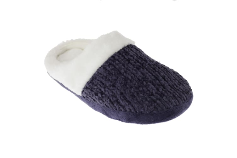 SlumberzzZ Womens/Ladies Faux Fur Lined Knit Patterned Slippers With Rubber Sole (Navy/White) (3/4 UK / 36/37 EU)