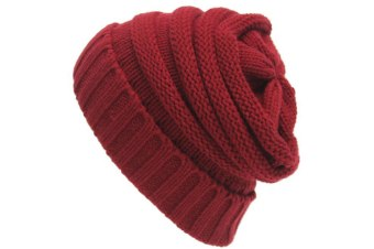 Unisex Knitted Beanie Caps Skully Hat  Burgundy