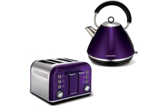 Morphy Richards Plum Accents 4 Slice Toaster and Kettle Chrome Stainless Steel