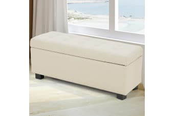 Large Ottoman Linen Fabric Storage Box Footstool Chest - Beige