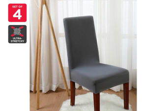 Ovela Pack of 4 Set Dining Chair Cover (Charcoal)