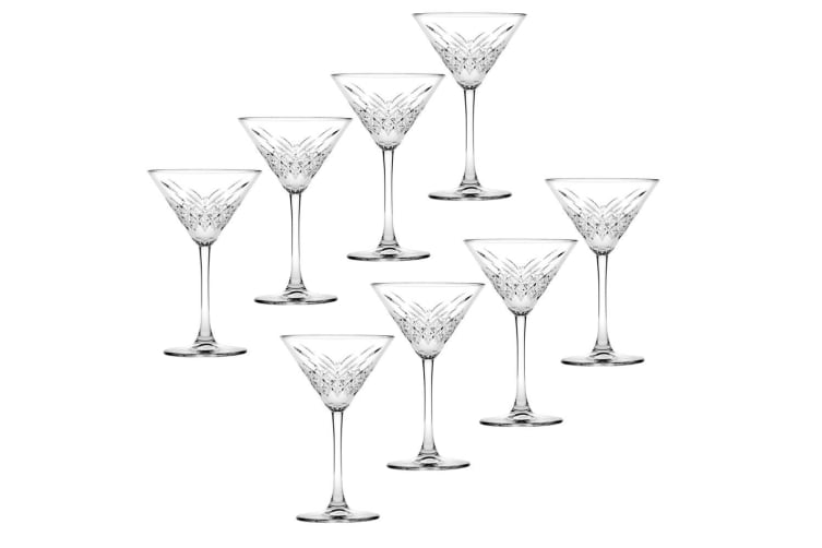 8pc Pasabahce Timeless 230ml Clear Martini Glasses Alcohol Party Cocktail Glass