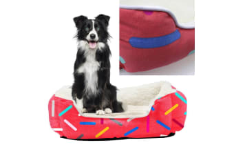 Canvas Walled Pet Bed Plush Red Colored Line Mattress Dog Cat Mat Cushion Large