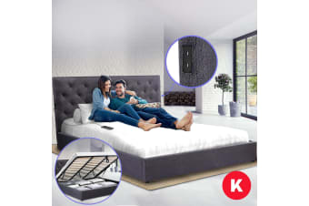 Royal Sleep King Bed Frame Gas Lift Platform Base Mattress Fabric Charcoal USB