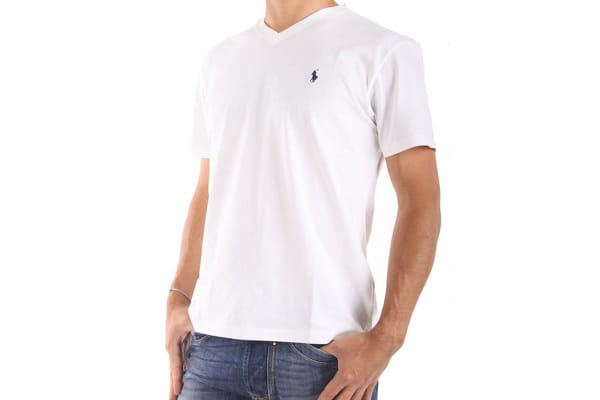 Polo Ralph Lauren Men's V-Neck Tee - White (Size XL)