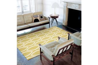 Flat Weave Oval Print Rug Yellow