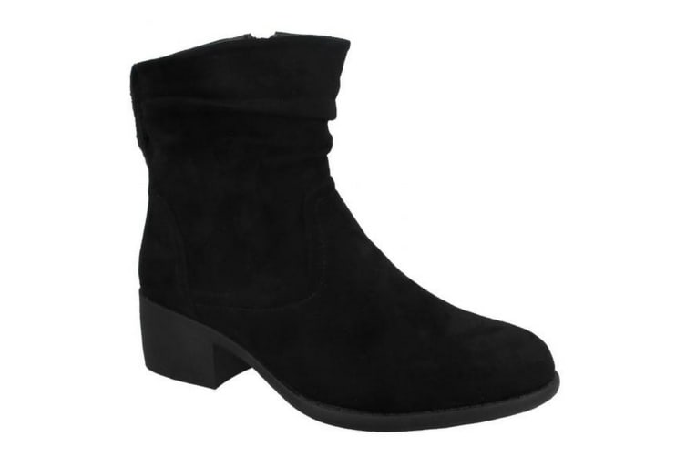 Spot On Womens/Ladies Rouched Ankle Boots (Black) (UK 7)