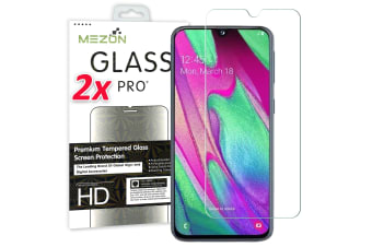 [2 Pack] Samsung Galaxy A70 Tempered Glass Crystal Clear Premium 9H HD Screen Protector by MEZON – Case Friendly, Shock Absorption (A70, 9H)