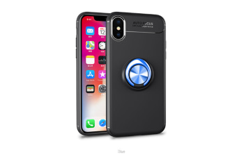 Iphone Xs Max Case,Heavy Duty Durable Soft Tpu Protective Case With Rotation Ring Kickstand Black Blue Iphonexs