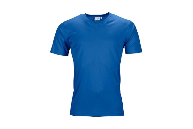 James and Nicholson Mens Active V Neck T-Shirt (Royal Blue) (XL)