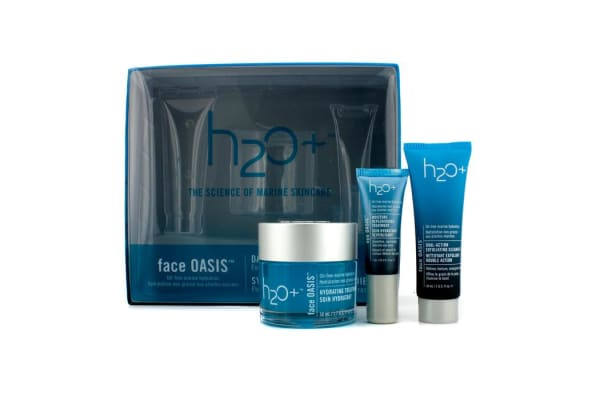 H2O+ Face Oasis Daily Hydration System: Hydrating Treatment 50ml + Exfoliating Cleanser 30ml + Eye Moisture Replenishing Treatment 7ml (For Normal/ Oily Skin) (3pcs)