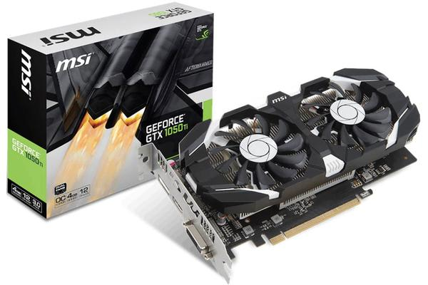 MSI NVIDIA GTX 1050 TI 4GT OC V1 4GB Video Card - GDDR5 DP/HDMI/DVI SLI 1341/1455MHz