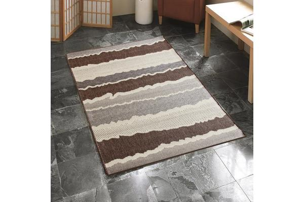 Indoor Outdoor Wave Rug Beige Brown 160x110cm