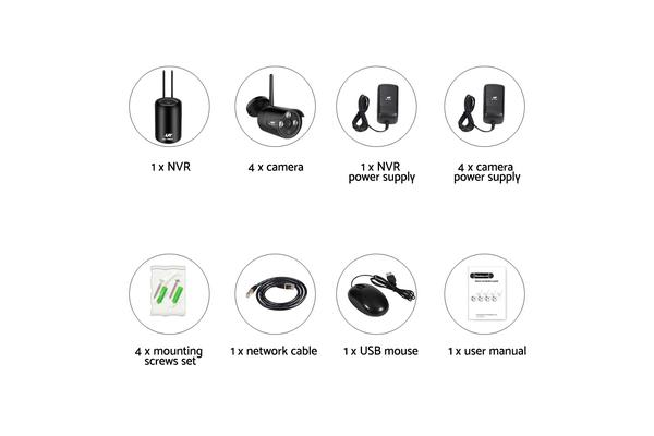 UL-TECH 1080P Wireless Security Camera System IP CCTV WIFI HDMI 8CH NVR Video with 4 Cameras (Round)