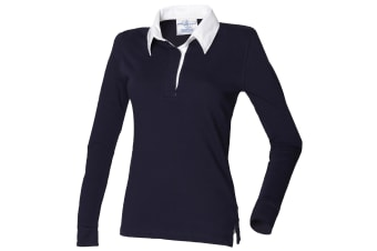 Front Row Womens/Ladies Long Sleeve Plain Sports Rugby Polo Shirt (Navy/White)