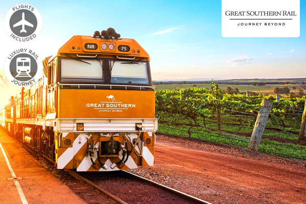 GREAT SOUTHERN JOURNEY: 6 Day Luxury Rail Package from Adelaide to Brisbane Including Flights for Two (Departing SYD/MEL)