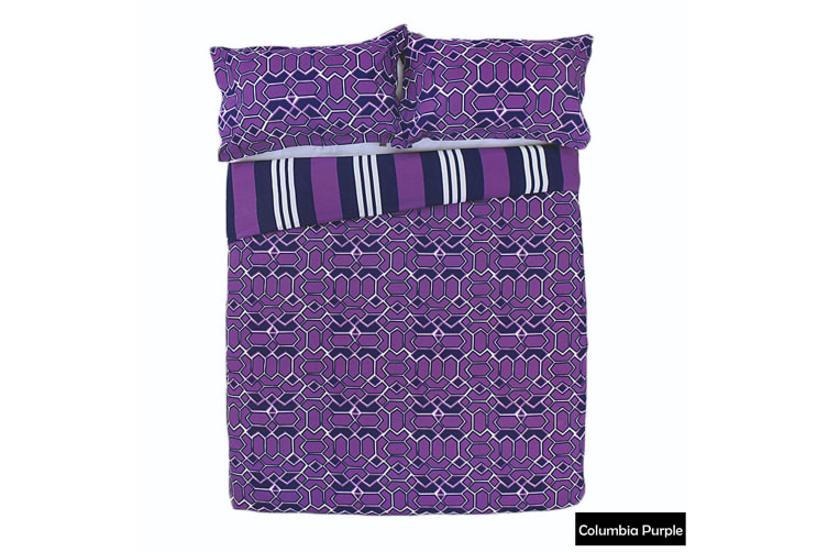 Columbia Reversible Quilt Cover Set PURPLE Queen by Apartmento