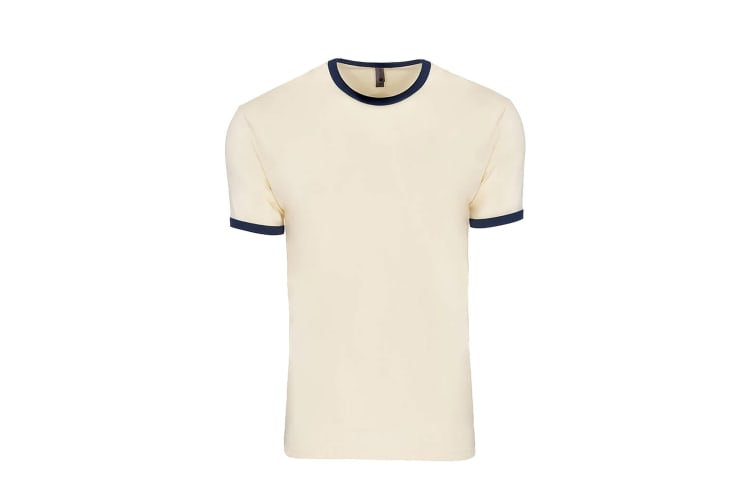 Next Level Adults Unisex Cotton Ringer T-Shirt (Natural/Midnight Navy) (L)