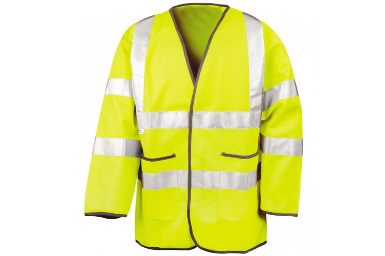 Result Mens High-Visibility Motorway Safety Jacket (EN471 Class 3 Approved) (Pack of 2) (Fluorescent Yellow) (L)