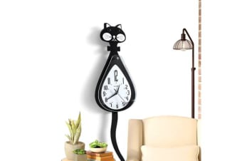 Chic Cartoon Cat Wall Clock with Shake Tail