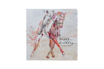 Deckled Edge Fanciful Dolomite Greetings Card (Birthday Step Out In Style - Dressage (Multicoloured))