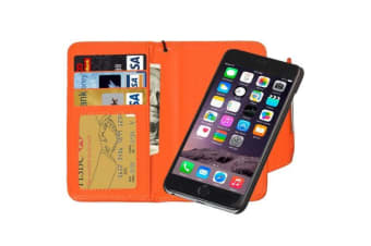 For iPhone 6S PLUS 6 PLUS Wallet Case Separable Horse Leather Cover Orange