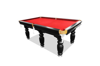 10FT Luxury Slate Pool Table Solid Timber Billiard Table Professional Snooker Game Table with Accessories Pack, Black Frame / Red Felt