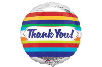 Anagram 18 Inch Thank You Stripes Circle Foil Balloon (Silver/Multicoloured) (18 inch)