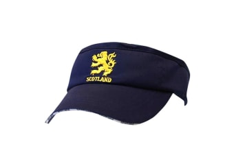 Scotland Lion Embroidered Visor Cap (Navy) (One Size)