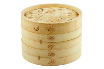 Davis & Waddell 20cm 2 Tier Asian Bamboo Dumpling Dim Sum Vegetable Food Steamer