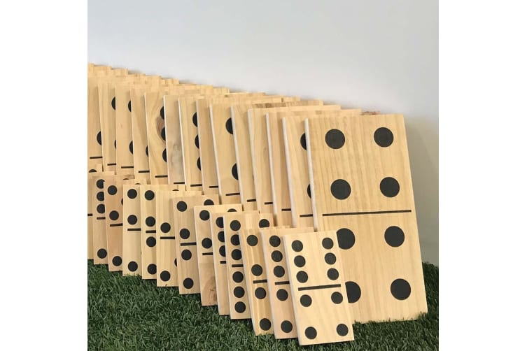 Giant Wooden Dominoes 28pc Party Games - Large 15cm