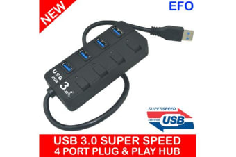 4 Port Usb Hub 3.0 Super Speed 5 Gb/S Windows Mac Linux Compatible Led Indicator