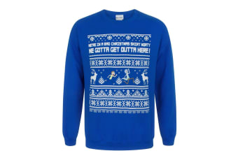 Rick And Morty Mens We Gotta Get Outta Here Christmas Sweatshirt (Blue)