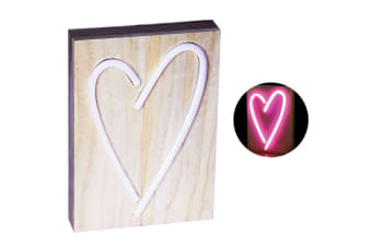 Love Heart  23cm Neon Light Lamp Sign w/Wooden/Retro Lighting/Home Light Decor