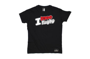 Up And Under Rugby Tee - I Love Stencil Mens T-Shirt