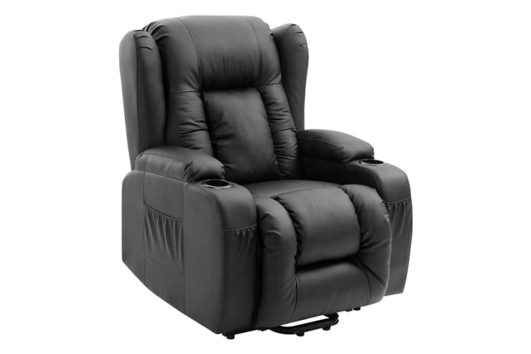 Electric Massage Chair PU Leather Recliner Sofa Lift Motor Armchair 8 Point Heating Seat