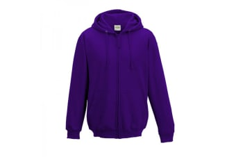 Awdis Plain Mens Hooded Full Zip Hoodie / Zoodie (Purple) (XL)