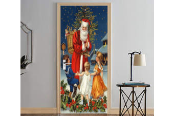 3D Christmas Xmas Lovely Santa Claus 1 Door Mural Woven paper (need glue)